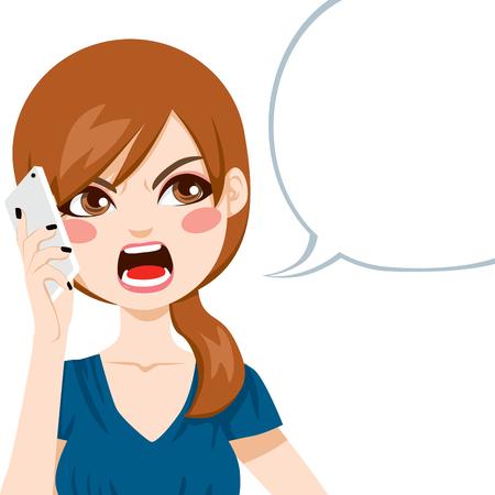 chateado: Mulher nova virada gritando com raiva em uma conversa telefonema Ilustra��o