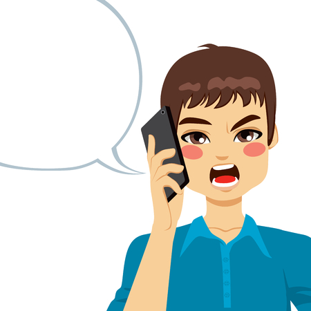 annoying: Young guy angry shouting having a phone call conversation Illustration