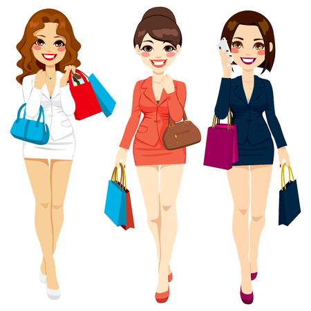 caminar: Tres hermosas mujeres de negocios en vestidos de traje caminando feliz con bolsas de la compra