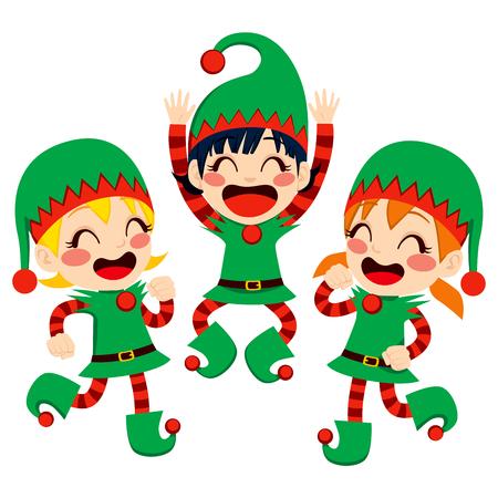ilustraciones niños: Tres pequeños niños vestidos con los ayudantes de Santa Claus traje de baile feliz en el tiempo de Nochebuena