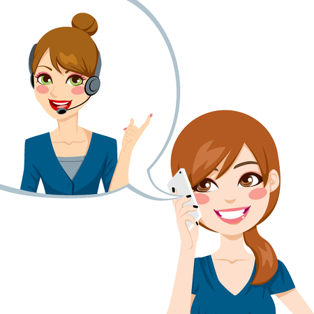good service: Satisfied woman smiling and having a nice phone conversation receiving good customer service from call center agent Illustration