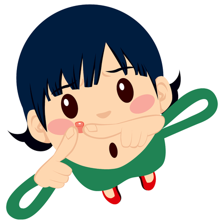 Leuk jong meisje knijpen puistje op haar wang met twee vingers