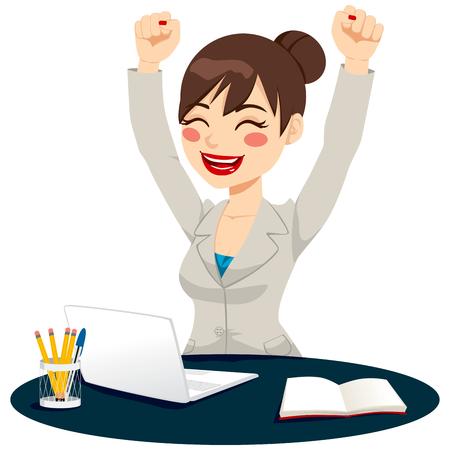 erfolgreiche frau: Sch�ne gl�cklich erfolgreiche Frau feiert Arme heben sich Freude ausdr�cken Illustration
