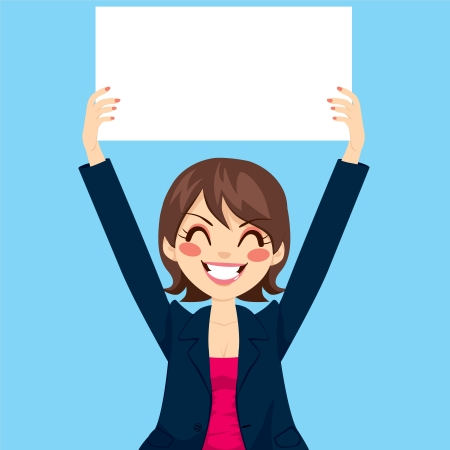 woman arms up: Pretty businesswoman holding white blank board over blue background