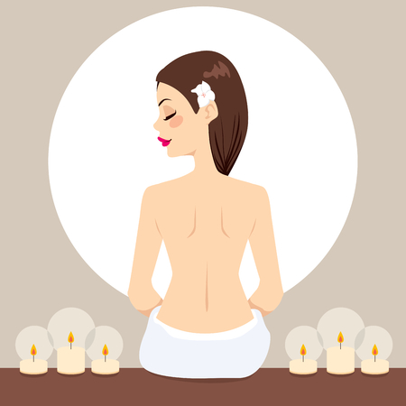 Beautiful young woman naked back on spa relaxing with relaxation candles Vector