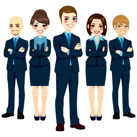 5 つの成功と自信を持ってビジネスの男性と肯定的な笑みを浮かべて式と腕を組んで立っている女性のチーム