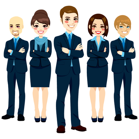 Team of five successful and confident business men and women standing with arms crossed and positive smiling expression Vector