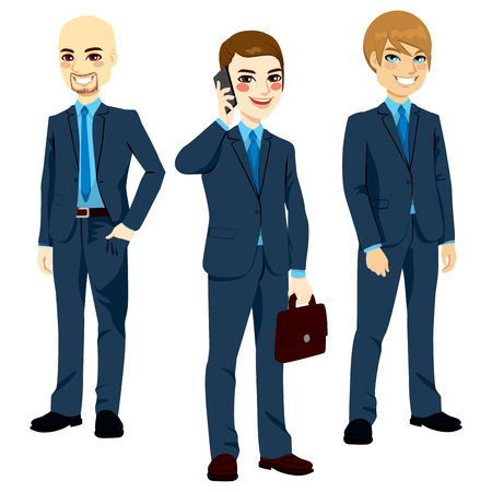Three successful businessmen wearing blue suits standing in different poses