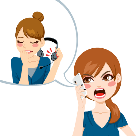 Unsatisfied woman using smart phone yelling angry to call center agent for bad customer service assistance Vector