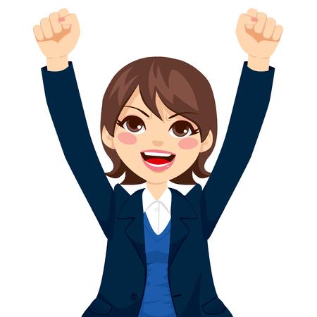 Empresaria Linda morena levanta los brazos expresando feliz emoción positiva exitosa Ilustración de vector
