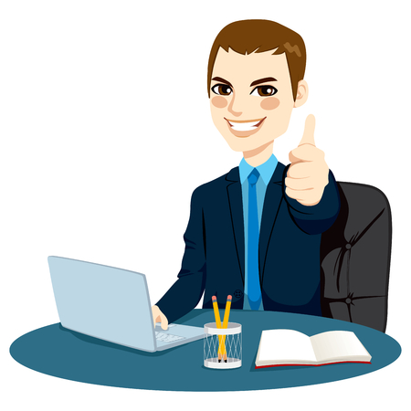 front desk: Successful businessman making thumbs up hand sign in front of his desk while working typing on laptop