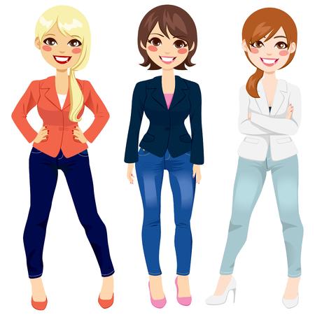 갈색 머리: 다른 포즈에서 스마트 캐주얼 패션 의류를 입고 아름 다운 세 여자