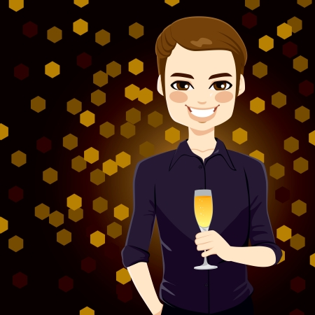 Handsome man enjoying glass of champagne on new year night club party Vector