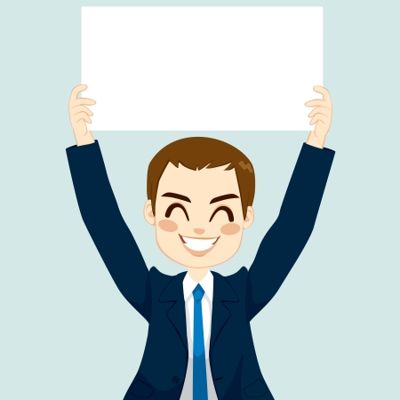 Handsome businessman holding white blank board on blue background Vector