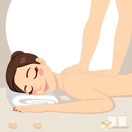 woman lying down: Beautiful brunette woman getting relaxing massage treatment lying down on bed at spa with soft light candles Illustration