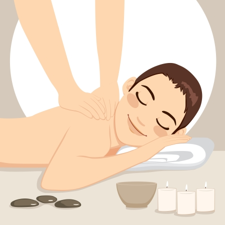 treatment: Young handsome man getting relaxing massage treatment lying down on bed at spa with soft light candles and Zen elements Illustration