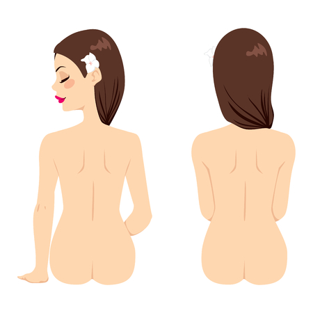 Beautiful brunette woman back naked on two different poses isolated on white background Vector