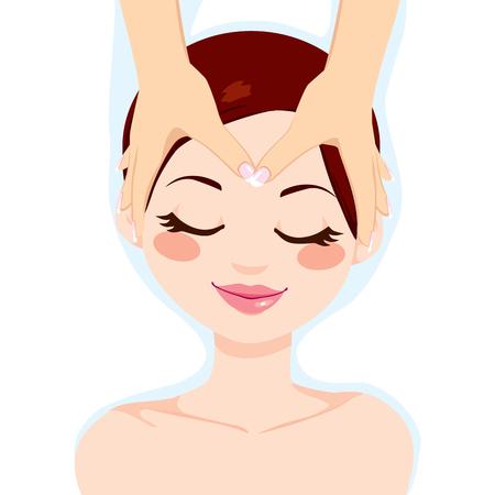Jonge brunette vrouw genieten van ontspannende gezichtsmassage behandeling Stock Illustratie