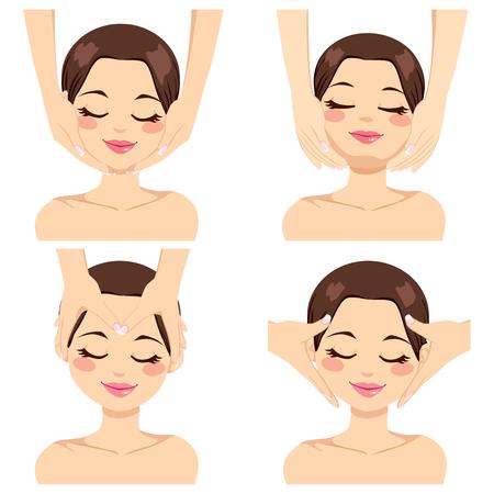 Collectie van vier verschillende gezichts massage technieken op mooie brunette jonge vrouw geïsoleerd op witte achtergrond