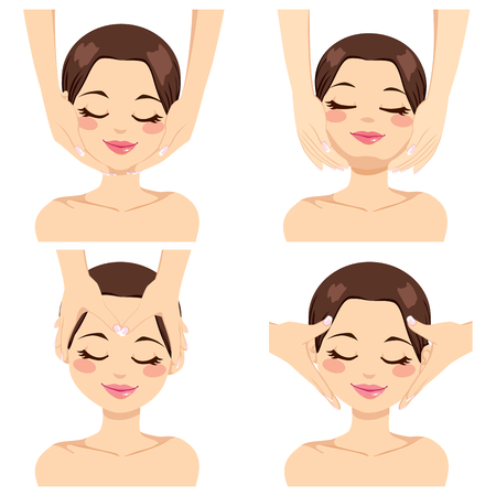 Collection of four different facial massage techniques on beautiful brunette young woman isolated on white background Vector