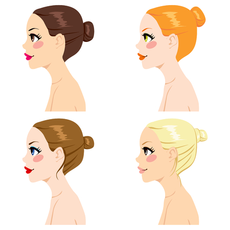 hair color: Four women profile with different hair bun styles and hair color isolated on white background Illustration