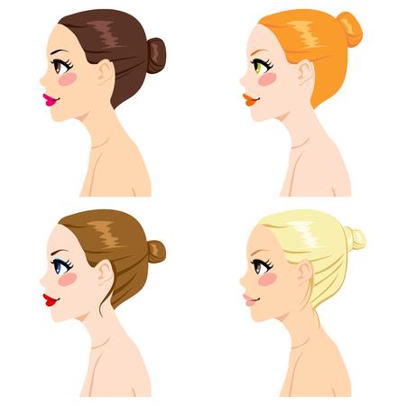 Quatre femmes profil avec différents styles de chignon de cheveux et la couleur des cheveux isolé sur fond blanc Vecteurs