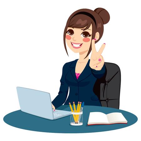 pupitre: Exitosa empresaria haciendo el signo de victoria de la mano delante de su escritorio mientras trabajaba escribiendo en portátil Vectores