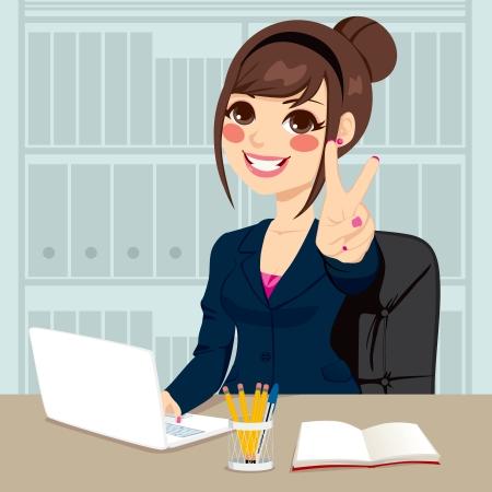 자신의 책상에 노트북에 입력하는 작업을하는 동안 성공적인 사업가 자신의 사무실에서 승리 손 기호 만들기