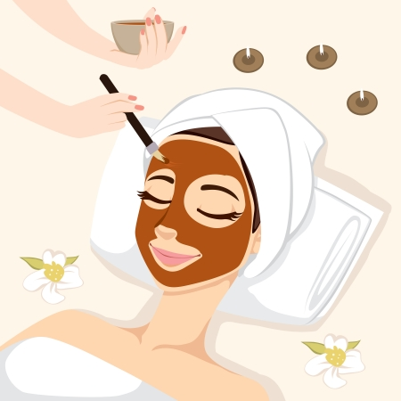 Woman having chocolate mask treatment therapy lying down on massage bed with flowers and perfumed candles Vettoriali