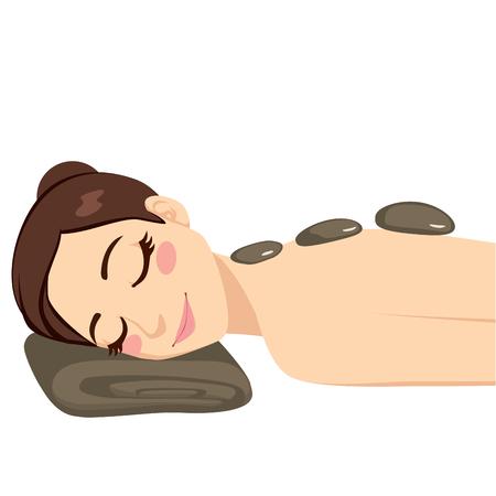 Belle femme brune se massage relaxant aux pierres chaudes isolé sur fond blanc Vecteurs