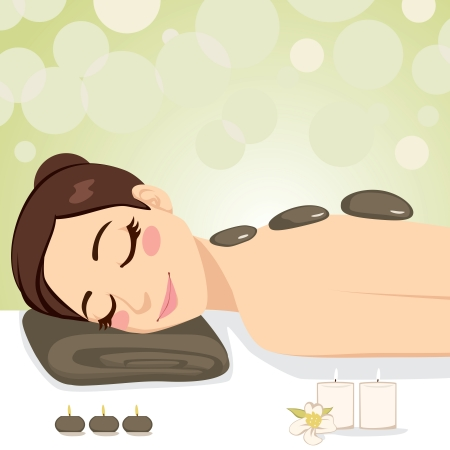 spa stones: Beautiful brunette enjoying relaxing hot stone massage with soft light candles at beauty parlor Illustration