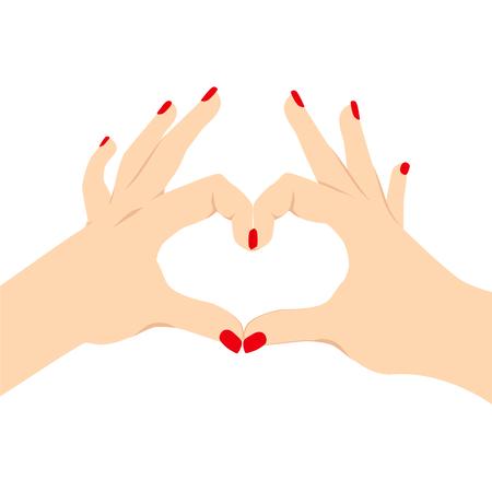 making love: Ilustraci�n de manos de una mujer haciendo el amor del coraz�n muestra de la mano aislados en el fondo blanco de la visi�n posterior