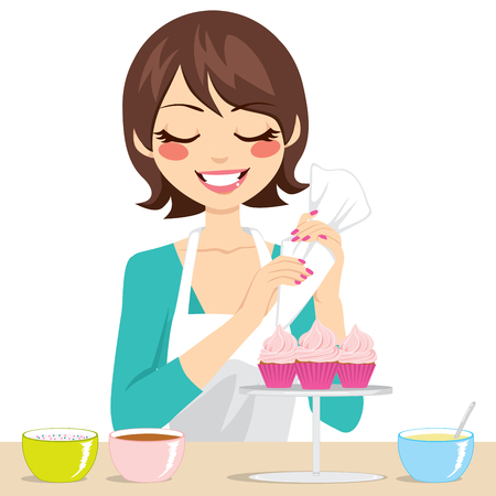 Beautiful brunette woman decorating sweet cupcakes with strawberry cream Vector