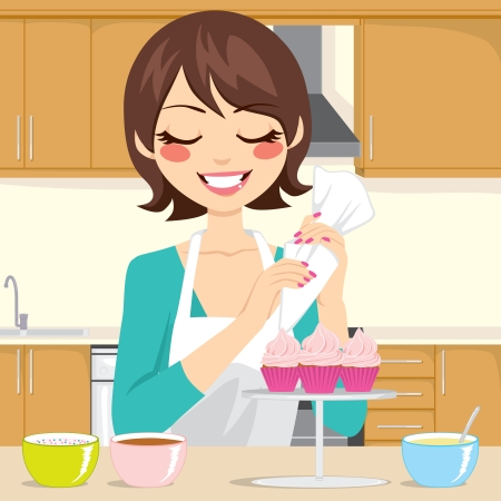 Cute woman with apron decorating cupcakes with strawberry cream in kitchen Vector