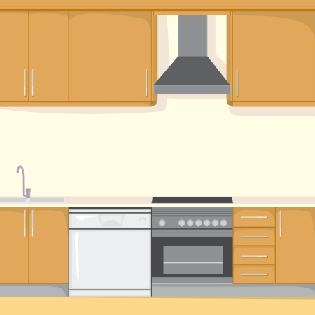 cooktop: Background illustration of a modern house kitchen with appliances in brown color style