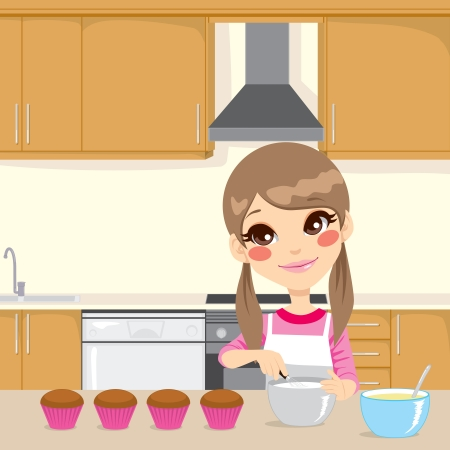 Illustration of a sweet little girl with apron making whipped cream for cupcakes in home kitchen Vector