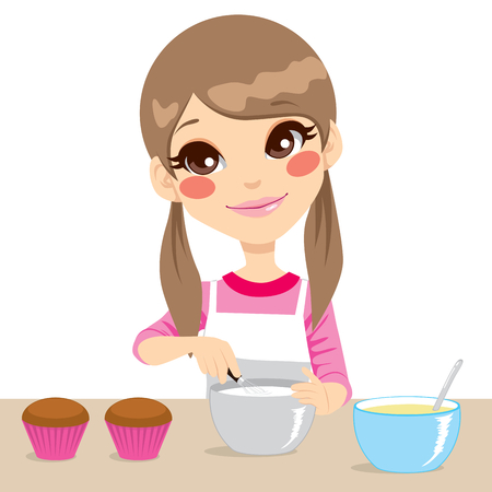 Cute little girl with apron making whipped cream for cupcakes isolated on white background