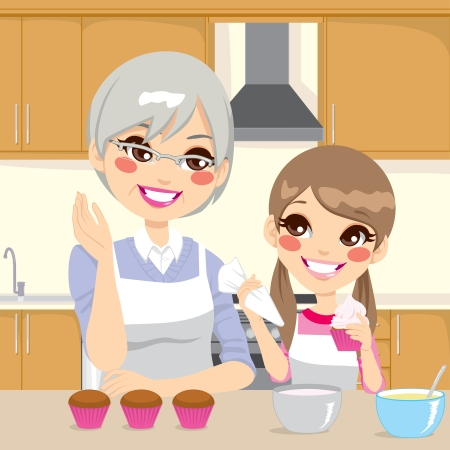 granddaughter: Grandmother teaching cooking to granddaughter decorating cupcakes together happily in kitchen