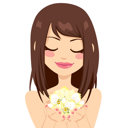 smelling: Beautiful brunette girl holding yellow spring flowers gently with her hands Illustration