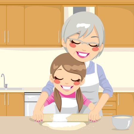 granddaughter: Grandmother teaching Granddaughter how to make pizza dough together in kitchen Illustration