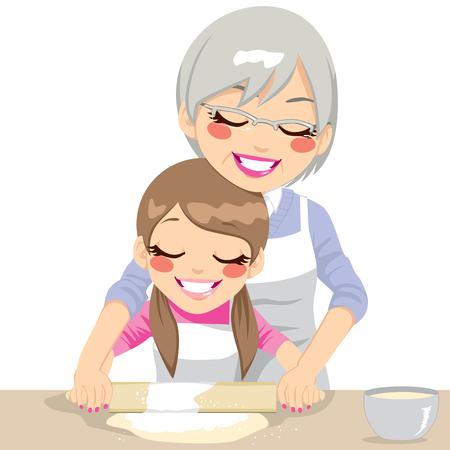 손녀와 롤링 핀을 사용하여 손수 만든 피자 반죽을 만드는 할머니