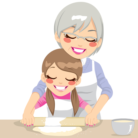 niños cocinando: Nieta y abuela que hace la pasta de pizza hecha a mano utilizando un rodillo