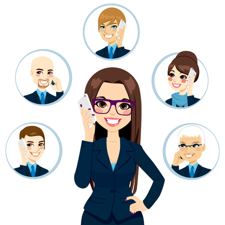 smart phone woman: Concept illustration of businesswoman calling business contacts on a working day isolated on white background