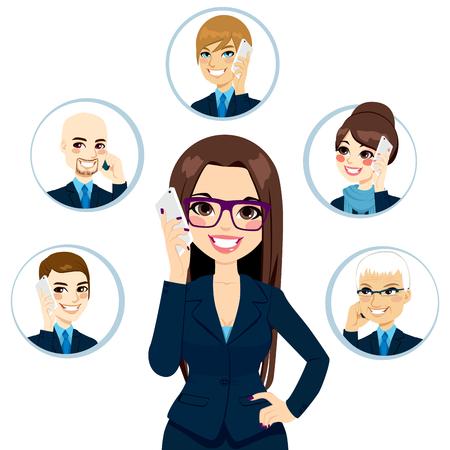 jornada de trabajo: Ilustraci�n del concepto de la empresaria llamando contactos de negocios en un d�a de trabajo aislado en el fondo blanco