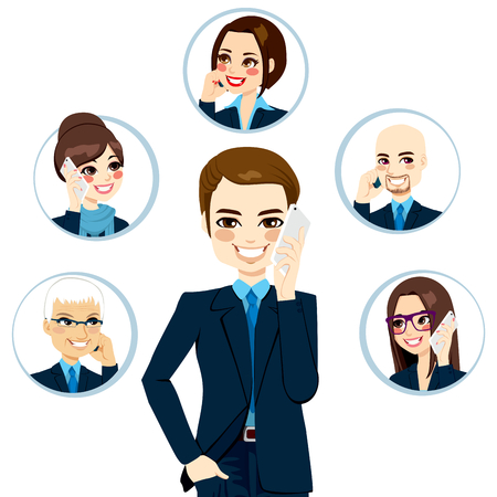Handsome businessman calling business contact network people concept isolated on white background Stock Vector - 24170144