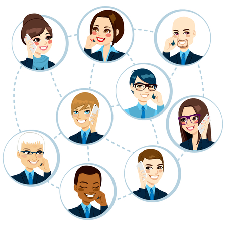 business woman phone: Concept illustration of businesspeople from around the world networking and talking on the phone and doing business