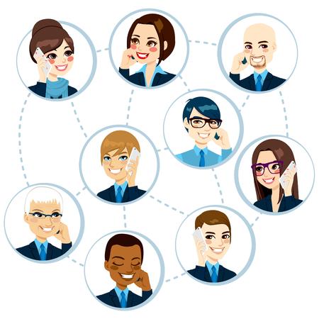 donna con telefono: Illustrazione del concetto di imprenditori da tutto il mondo networking e parlare al telefono e fare business Vettoriali