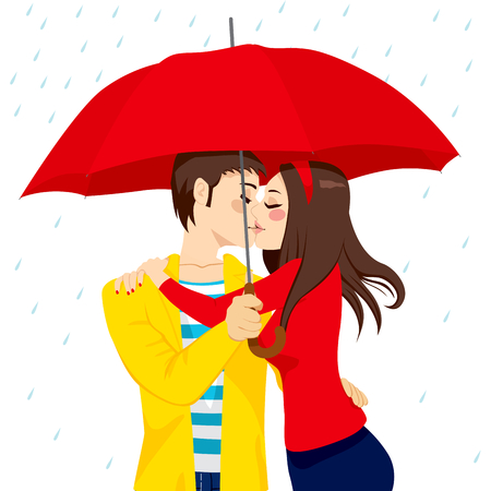 Sweet couple in love hugging and kissing under big red umbrella on a rainy day Vector