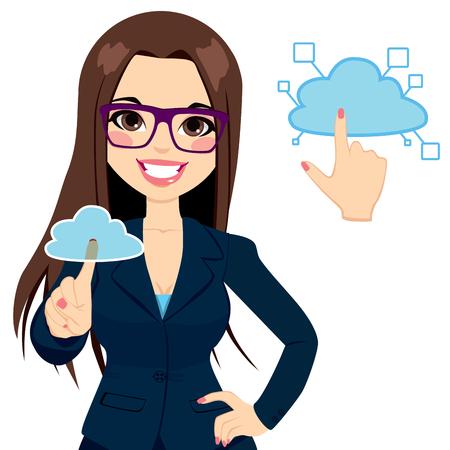 accessing: Hermosa mujer de negocios de tocar la nube para acceder a servicios en l�nea de redes concepto de ilustraci�n Vectores