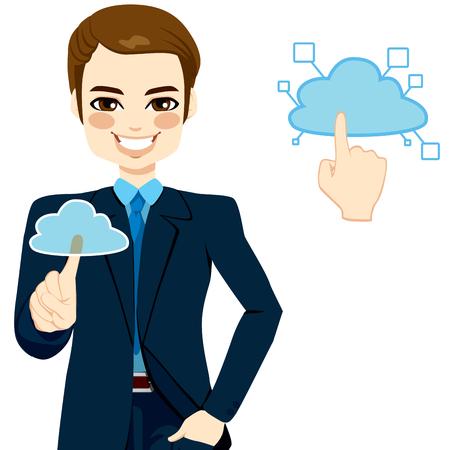 accessing: Apuesto hombre de negocios de tocar la nube para acceder a servicios en l�nea de redes concepto de ilustraci�n